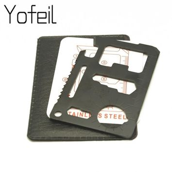 1PC 11 in 1 Camping Survival Pocket Multi tool Military Multifunction Swiss  Army Wallet Kinfe Tools Credit Card Knife