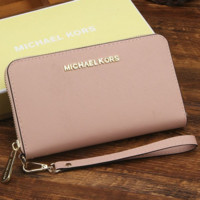 MK Micheal Kors Women Leather Zipper Wallet Purse Wrist Bag Pink
