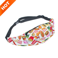 2016 New waist fanny Bag packs 3D colorful fast food Printed cute child girls women Fanny Money Waist Bags Belt Pack