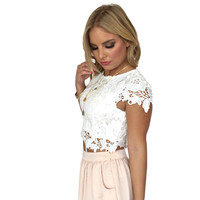 Hibiscus Bloom Crochet Top In White