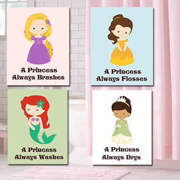 Princess Bathroom Wall Art- Bathroom Rules 4 - 5X7 Prints - Princess Girl's Bathroom Art - Girl Wall Art Personalized Girl Prints
