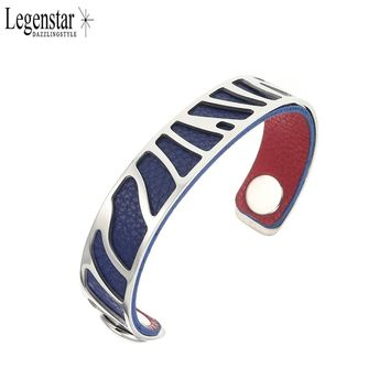 Legenstar Stainless Steel Bangle Labyrinth Cuff Personalized Reversible Dark Blue & Red Leather Band for  Women