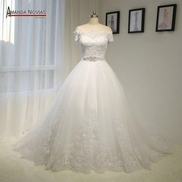 Off The Shoulder White Lace Appliques Wedding Dress With Beading Belt