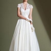 86-audrey 50's style tea length satin strapless wedding dress and vintage lace coat
