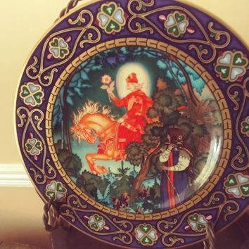 """Heinrich Villeroy & Boch Russian Fairy Tales """"THE RED KNIGHT"""" Collectors Plate"""