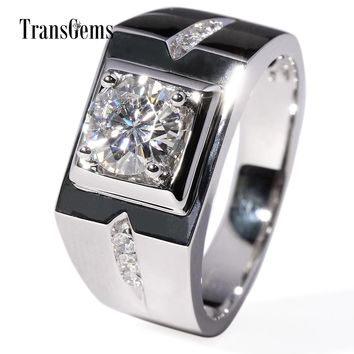TransGems 1 Carat Lab Grown Moissanite Diamond Wedding Band Cubic Zirconia Accents Solid 14K White Gold Solitaire Ring for Men