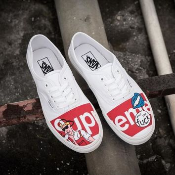 Vans x Supreme Cartoon Old Skool Canvas Flats Sneakers Sport Shoes G-CSXY