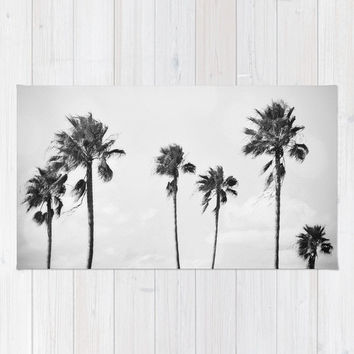 Black Palms - Beach Towel, Large Sized Tropical Surf Style Towel, Coastal Palm Trees Print Beach Blanket Throw Accessory. In 36x72 Inches