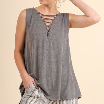 Sleeveless Crisscross Top H.Grey