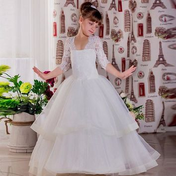 Ball Gown Three Quarter Sleeves Custom Made First Communion Pageant Gowns