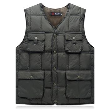 Multi Pocket Winter Cotton Vest For Men Padded Khaki Blue Outerwear Tool Work Waistcoat Casual Baggy Thick Hot Sleeveless Jacket