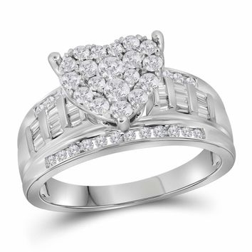 10kt White Gold Womens Round Diamond Heart Bridal Wedding Engagement Ring 1.00 Cttw