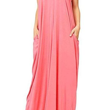 Harem Maxi Dress with Pockets in Coral