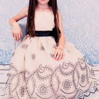 Champagne Organza Dress with Black Floral Embroidery & Satin Trim (Girls Sizes 2T - 12)