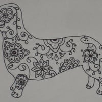 Sugar Skull Dachshund Pen and Ink Drawing by SpunSugarMenagerie