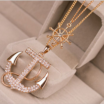 Fashion Women Chic Rhinestone Anchor&Rubber Pendants Necklace Long Chain Sweater Necklace 2 Colors Crystal