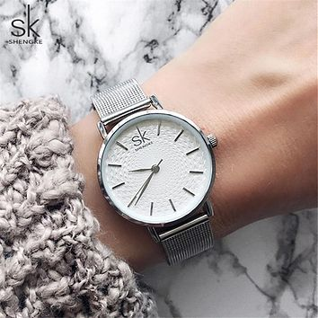 Shengke Slim Mesh Stainless Steel Quartz Wristwatch Women Ultra Thin Luxury watch Ladies Dress Watch Relogio Feminino Gift Clock