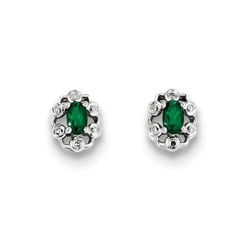 Sterling Silver Created Emerald And Diamond Stud Earrings