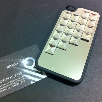 Iphone 4 / 4S black hard case made with silver studs / by CRISION