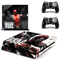 Marvel Deadpool Skin for PS4 Console + 2 Controllers