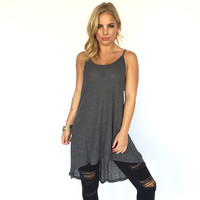 Tough Enough Ribbed Tunic Dress In Charcoal Grey