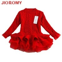 Thick Warm Girl Dress Christmas Wedding Party Dresses Knitted Chiffon
