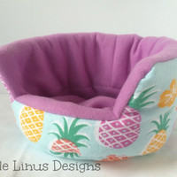 "Cozy Cuddle Cup Bed - Pineapples / Lavender Purple - Fleece & Flannel - 8"" for Hedgehog / Guinea Pig / Small Animal / Pet"