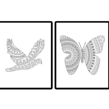Bird and butterfly coloring pages - Adult coloring book Adult coloring pages Butterfly print Bird print Animal print Nature print Bird art