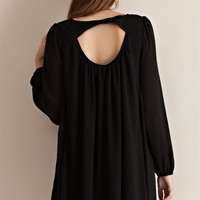 Cutout Back Shift Dress - Black