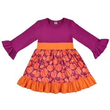 Conice nini Cute Baby Girls Holloween Day And Boutique Pumpkin Pattern Dress Boutique Clothing Party Dress LYQ803-081
