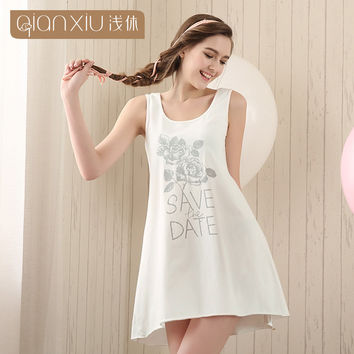Qianxiu Cotton Nightgown For Women Knee-length Sleepshirts Summer Sleeveless Sleepwear