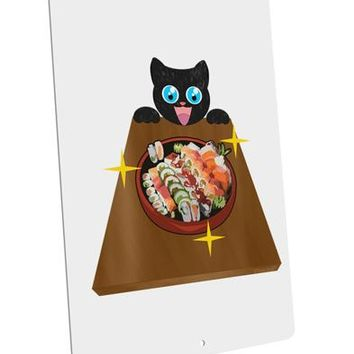 "Anime Cat Loves Sushi Large Aluminum  Sign 12 x 18"" - Portrait by TooLoud"