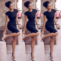 New Fashion Women Round Neck Short Dress Black Slim Pencil Dress = 1956584580