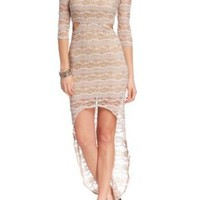 Amazon.com: 2B Lace Cut-out High Low Maxi: Clothing