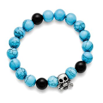 Men's Stainless Steel Antiqued Skull Imitation Turquoise/Black Onyx Bracelet