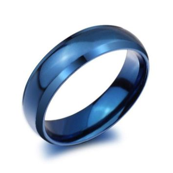 ONETOW Fashion Titanium Steel Blue Band Rings (6mm) Mens/Womens Couples Wedding Engagement Size 4/5/6/7/8/9/10/11/12/13/14 = 1930078916