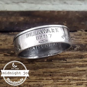 Delaware 90% Silver State Quarter Coin Ring