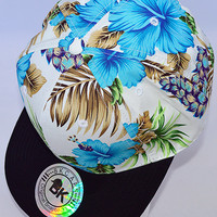 Tropical Paradise SnapBack Hat: Blue