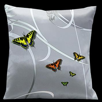 Lama Kasso 27 Precious Metals Silver with Butterflies and Pale Green Accents 18 x 18 Satin Pillow