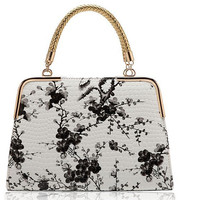 Fashion Print Flowers Leather Totes