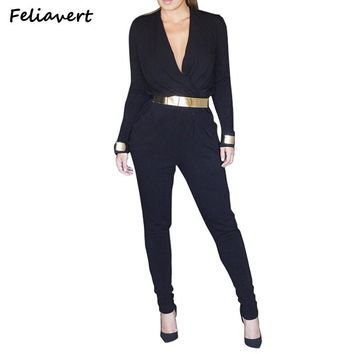 Feliavert Clothes Womens Sexy Jumpsuits Fashion Long Sleeve Rompers Women Bandage Bodysuit Casual Jumpsuit Feminino Overalls