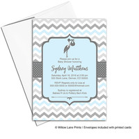 Printable baby boy shower invitations for boys in blue and gray | unique baby shower invites - WLP00857