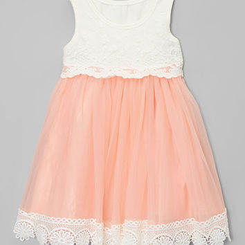 Chicaboo Coral Vintage Lace Tank Dress - Infant & Toddler | zulily