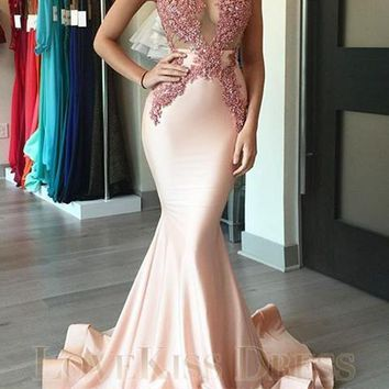 Sexy Prom Dress Lace Appliques See Through Bodice with Pink Long Mermaid Prom Dress Gorgeous Evening Dresses