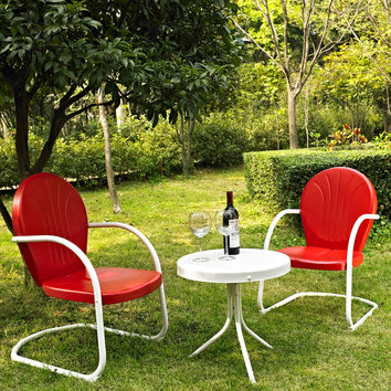 3-Piece Outdoor Patio Furniture Set in Red & White
