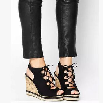 New free shipping  Women Platforms Sandals  Cross Lace-Up Flock Pumps Lady Peep Toe Cut-Outs Wedges Shoes  Size 30 31 32 33