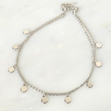 Plated Charm Anklet Silver