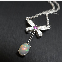 Opal Necklace, Bowknot Necklace, Ethiopian Opal Pendant, Full Sterling Silver Op