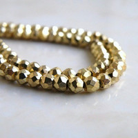 Gold Pyrite Bead Faceted Rondelle AAA 3.5mm 1/2 Strand Wholesale