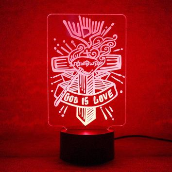 God Is Love Cross 3D LED Night Light Lamp